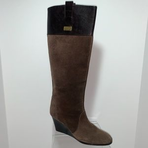 SALVATORE FERRAGAMO BROWN SUEDE KNEE BOOTS - 8M